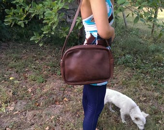 Vintage Brown Leather Bag, Shoulder Faux Leather Bag, Lady Bag with Strap from 1970s, Gift Idea