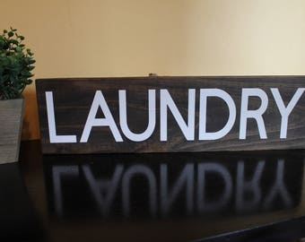 Hand Crafted Recycled Wood Signs - Rustic Decor - LAUNDRY - Bathroom - Outhouse - Garden - Farmhouse - Laundry - Kitchen - YOUR CHOICE