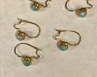 4 pairs Vintage Gold Ear Wires With Moonstone Ball