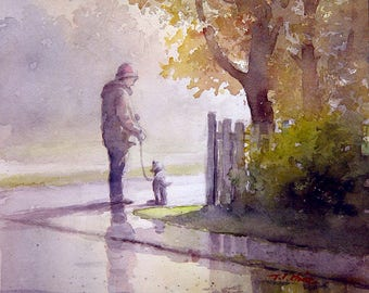 Man and His Dog Friend  Art print of Watercolor Painting -  Friendship, Companion,
