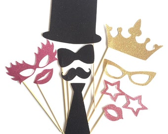 Photo Booth Props - Glitter Moustaches, glasses, lips, top hat, bow tie, crown. Perfect for weddings & parties