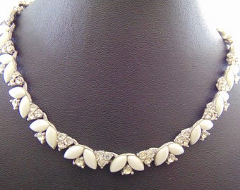 Vintage Signed Crown Trifari Chalk White Navette Marquise Cabochon and Clear Rhinestone Adjustable Choker Necklace