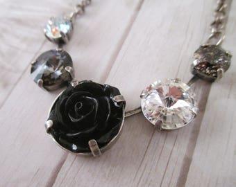 """Swarovski crystal necklace/""""Blackout""""/Black flower necklace/Cup chain black necklace/Floral necklace/Black crystal necklace"""