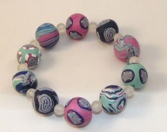 SALE Item - Pastel Colors Beaded Bracelet - Polymer Clay Jewelry for Women
