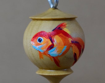 Turned Wood Goldfish Ornament