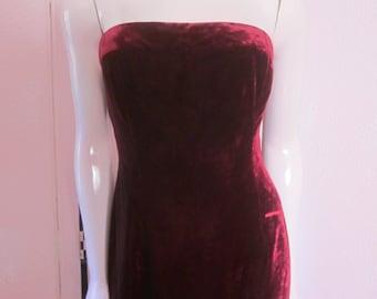 """1990s Burgundy Velvet Strapless Gown by """"TAHARI,"""" Size 8"""