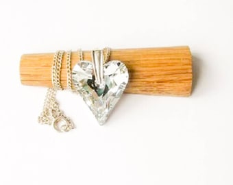 """Swarovski and sterling silver """"Wild Heart"""" necklace, sterling silver chain"""