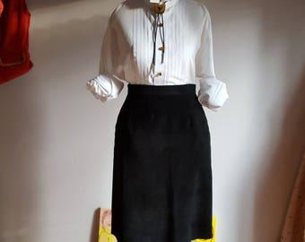 1980's black suede, pencil skirt, size 9