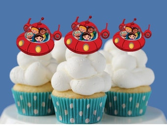 Double Sided Little Einstein Red Rocket cutout Cupcake Toppers Birthday Party Decorations Set of 12 Unique and very cute