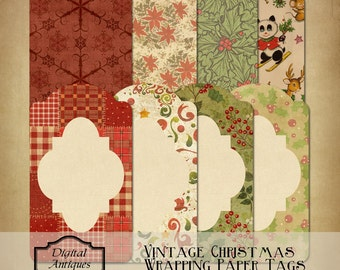 Vintage Christmas Wrapping Paper Tags  Printable Instant Download