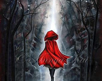 Red - Little Red Riding Hood - Dark Fantasy Art - Gothic Goth Mystical Painting - Dark Fairytale Wall Decor - Modern Red Home Decor