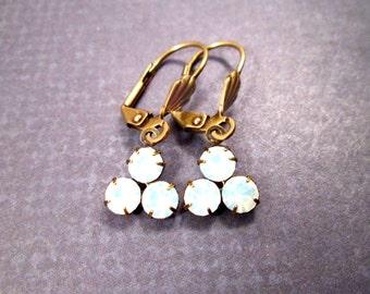 Rhinestone Earrings, White Opalite Glass Triple Stone Pendants, Brass Dangle Earrings, FREE Shipping U.S.
