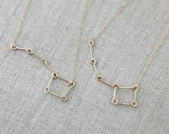 Mother Daughter Necklace, Little Dipper Big Dipper Necklace 14K Gold,  Big Sister Little Sister Necklace, Constellation Star Necklace