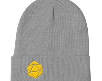 Yellow D20 Dice Dungeons and Dragons Knit Beanie