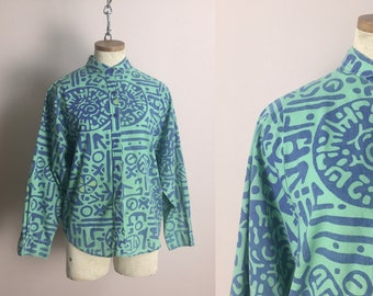 80s Wrangler Shirt in Green & Blue Tribal Print- 1980s Vintage Western Blouse- Faded New Wave Punk Baggy Long Sleeves Small Cowgirl