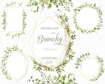 Watercolor Greenery Geometric Clipart Frame Greenery Frames Clip Art Greenery Branchy Frames Illustration Invitation Green Leaves Leaf