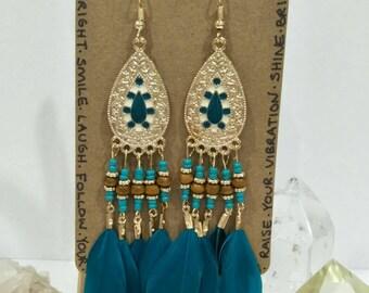 Teal & Gold Feather Chandelier Earrings / Boho