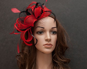 Red and black large fascinator hat for weddings, bridal shower, races- New stunning fascinator in my collection