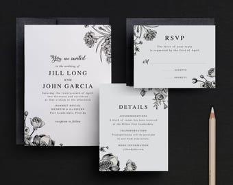 Formal Wedding Invitations, Traditional Wedding Invitations, Black and White Invitations, Floral Wedding Invitations, Invites