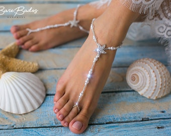 Barefoot sandals wedding, Starfish barefoot sandals, Beach wedding, Pearl and rhinestone footless sandals, barefoot jewelry, wedding shoes