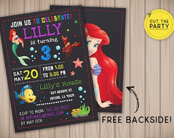 Little Mermaid invitation, Little Mermaid birthday invitation, Ariel invitation, Ariel birthday invitation, Little Mermaid party invitation