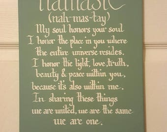 "Handwritten Calligraphy Namasté Sign with Inspirational Quote  ""My soul honors your soul..."""