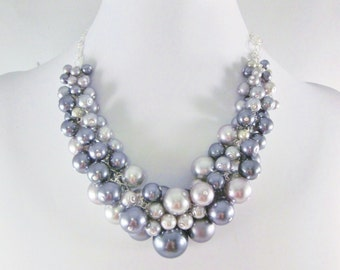 "Pearl Cluster Necklace ""Shades of Gray"" - Gray and Silver- Chunky, Choker, Bib, Necklace, Wedding, Bridesmaid, Prom, SRAJD, Custom"