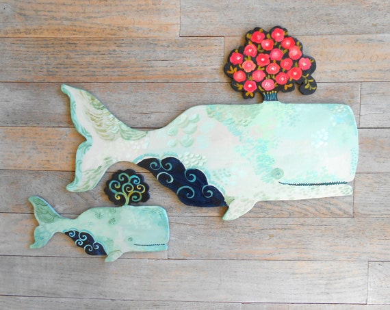 Amandine Mama and baby wood whales by Kimberly Hodges, wood whale art, whale print, whale sign, nursery art, whale art, whale art for baby