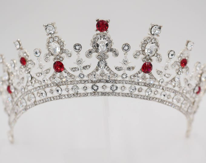 Any colour, crystal tiara, silver, gold, Swarovski, queen, sweet 16, quinceanera, Bridal, prom, hair accessory, pageant headdress,