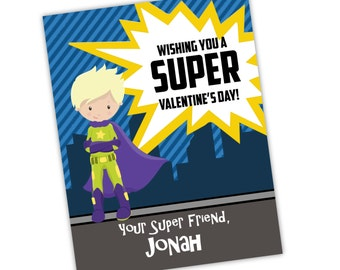 Superhero Valentines Day Card - Blue Stripes City, You Pick Boy, Green Superhero Personalized Valentines Day Cards - Digital Printable File