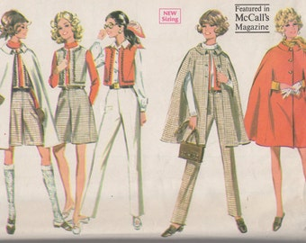 Bust 33 1/2-1968 Junior Cape, Pants, Vest and Culottes McCall's 9550 Size 11