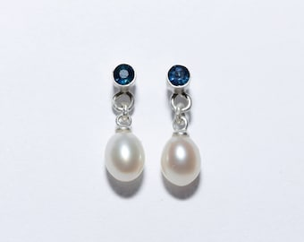 Silver earrings with Pearl and Sapphire