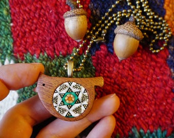 Bird pendant, Christmas gift idea, Wooden handmade bird pendant, Marquetry, Mahogany wood, Khatam, beautiful marquetry pattern, unique