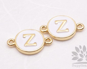 """IP004-G-Z// Gold Plated White Epoxy Initial """"Z"""" Round Pendant Connector, 2 pcs"""