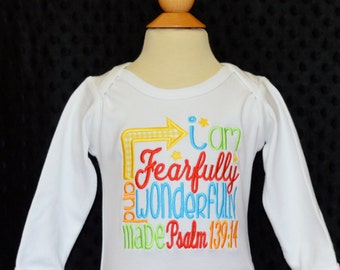 Personalized I am Fearfully and Wonderfully Made Applique Shirt or Bodysuit Girl or Boy