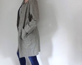 Vintage MODERN PLAID Trench • 1990s Clothing • Handmade Spring Coat Long Light Jacket Duster Check Green Neutral Button •Women Medium Large