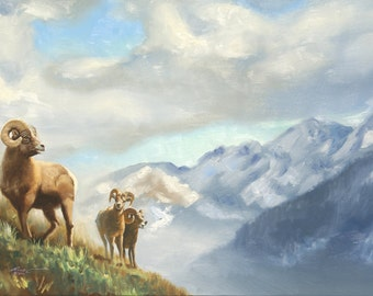 Bighorn Sheep wildlife animal landscape 24x36 oils on canvas painting by RUSTY RUST / S-103