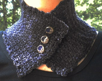 Knitted Neck Warmer Scarf Victorian Merino Wool Hand Dyed Wood in Purple/Blue Tweed
