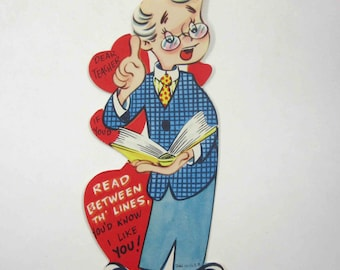 Vintage Unused Children's Valentine Greeting Card for Teacher with Man in Glasses Holding a Book