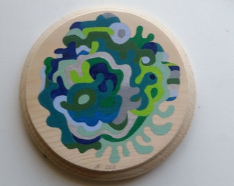 Original acrylic painting on 6 1/2 inch wood plaque