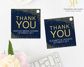 Navy and Gold Favor Tags, Thank You Tags, Printable Gift Tags, Printable Party Tags, Gold Confetti, Navy Blue, Print At Home, SH48 SH50 SH56