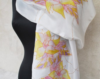 White silk scarf , yellow flowers, handpainted scarf , floral scarf, handpainted silk, floral scarves, silk scarves, Mother's day gift