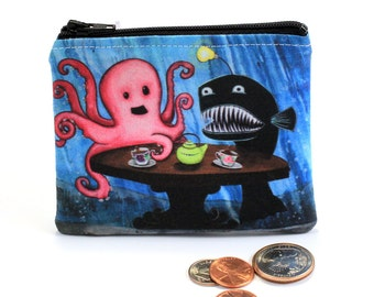 May I Join Your Tea Party - Small Zipper Pouch - Ocotopus and Angler having Tea with Little Girl - Art by Marcia Furman