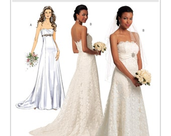 Butterick 5325 Women's bridal wedding gown, Strapless formal gown, strapless gown with train