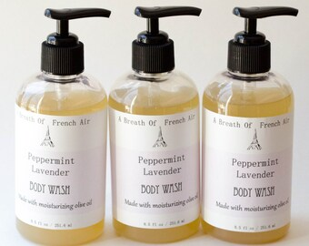 Peppermint Lavender Body Wash Liquid Soap  Natural Handmade, Hand, Facial, Shower Soap, Vegan Soap, Shower Gel, Paraben Free, Chemical Free