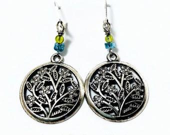 Preidot and Blue Apatite Tree Of Life Earrings
