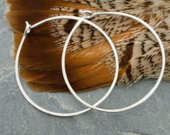 Medium Sterling Silver Hoop Earrings. Medium Size Hoop Earring. Hammered Hoops. Circle Earring. Sterling Silver Jewelry. Gypsy Boho Hoops