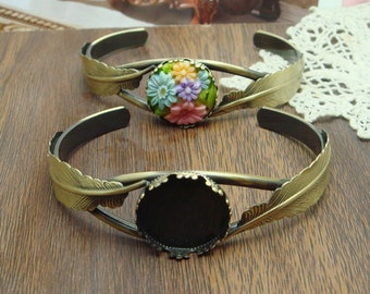 2 pcs   NEW Unique Antique Brass Two Feather Cuff Bracelet,/20mm Setting in Middle