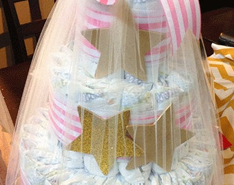 Golden star diaper cake, baby shower gift