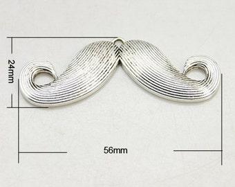 1PC Antique Silver Mustache Pendant